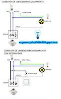 Conexión de un sensor de movimiento con interruptor y sin interruptor
