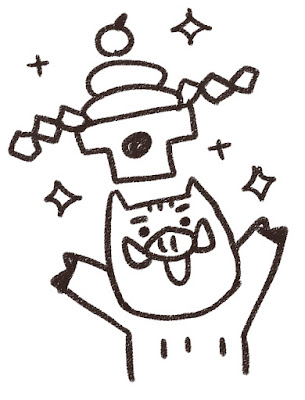 鏡餅を掲げる猪のイラスト(亥年)モノクロ線画