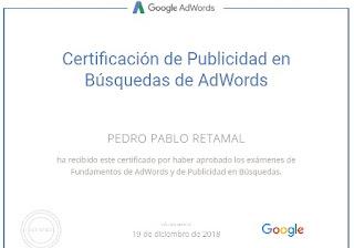 Certificación en Publicidad en Red de Búsquedas de Google Ads