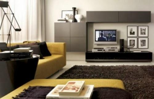 moderna con gris y amarillo donde vemos como sólo un par de muebles