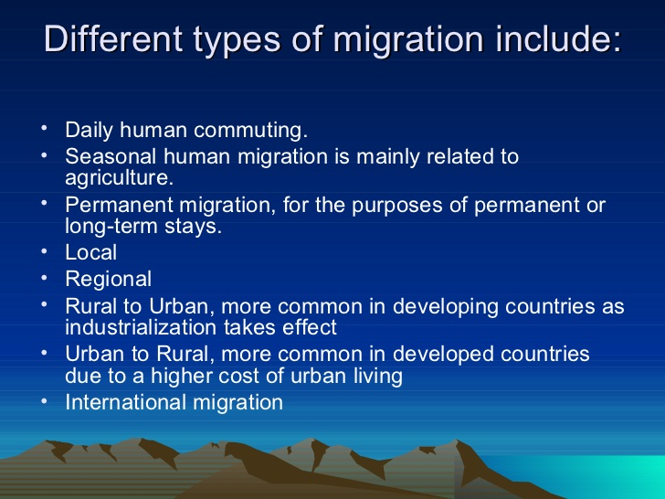 human migration factors The student will identify and explain the different types of human migration the student will identify the categories of people who migrate and describe the.