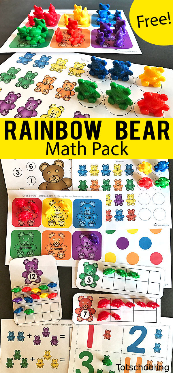 FREE printable math pack for preschool and kindergarten to be used with the set of rainbow counting bears. Kids will practice counting, colors, number recognition, ten frames, numbers to 20, patterns, graphing, dice games and more!