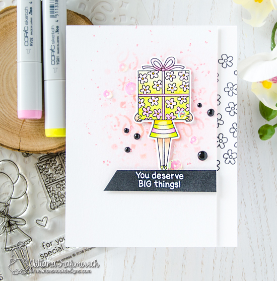 Big Things Birthday Card by Tatiana Trafimovich | Holding Happiness Stamp Set and Confetti Stencil by Newton's Nook Designs #newtonsnook #handmade