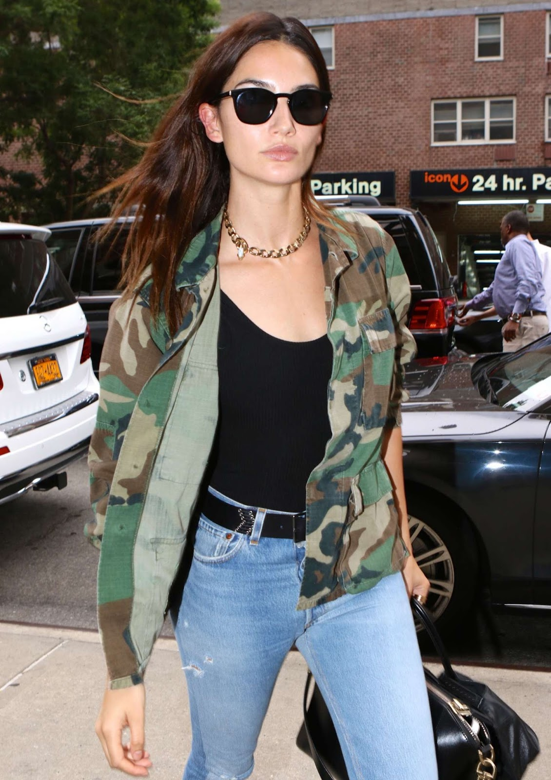 Lily Aldridge Wears Camouflage & Denim Out in NYC