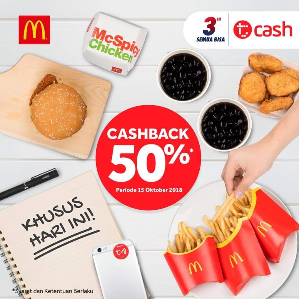 Promo MCDONALDS Terbaru Cashback 50% dengan TCash Periode 15