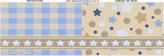 Estrellas Beige y Azul: Imprimibles Gratis para Fiestas.