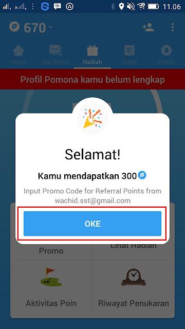 Cara Mendapatkan Rewards Points dengan cepat di Aplikasi pomona android