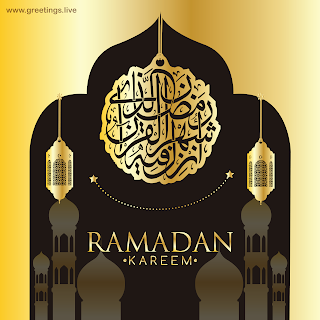 Ramadan Kareem in English mosque fanoos lanterns arabic calligraphy  Islamic design background