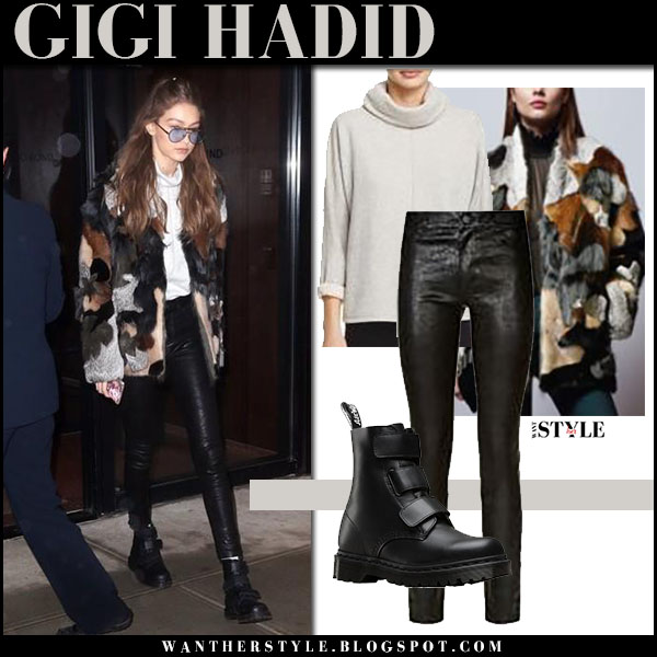 Gigi Hadid patchwork fur jacket black leather pants black dr. martens boots outfit nyfw february 2017 what she wore