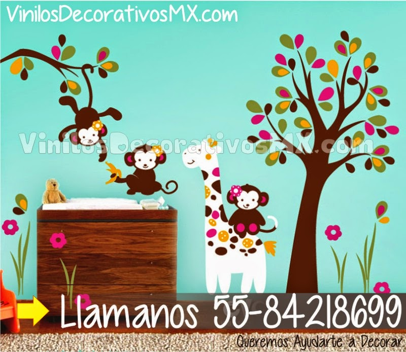 Perchero infantile de vinil decorativo 22 arbol y changuitos vinilos decorativos mexico - Vinilos infantiles arboles ...