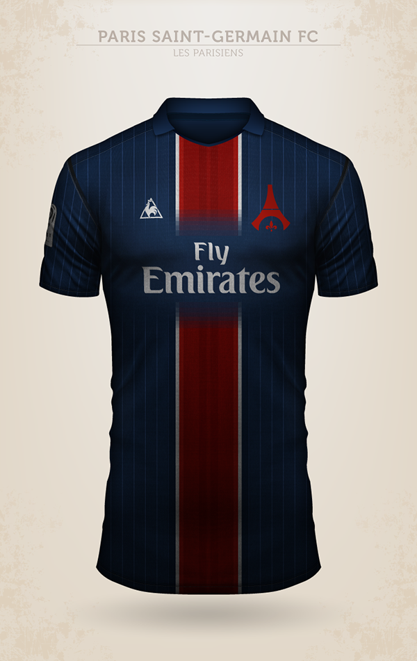 Projet de design du maillot du Paris Saint-Germain avec Le Coq Sportif