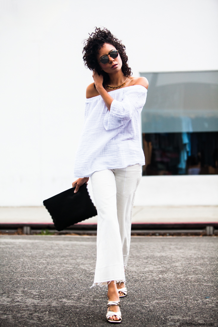 michael stars, citizens of humanity wide leg jeans, white on white outfit, curly hair, curls, fashion blogger, la fashion blogger