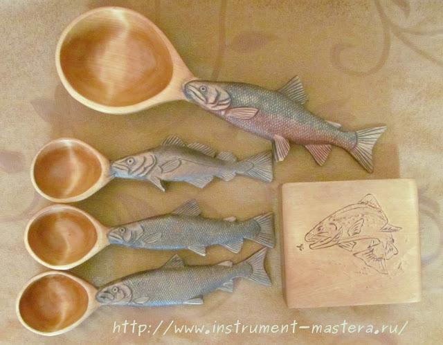 деревянные ложки в подарок рыбаку