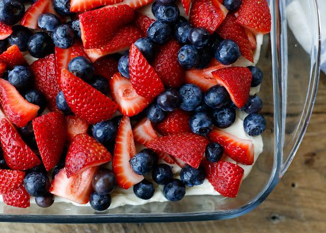 {No-Bake} Berry Pretzel Dessert! get the recipe at barefeetinthekitchen.com