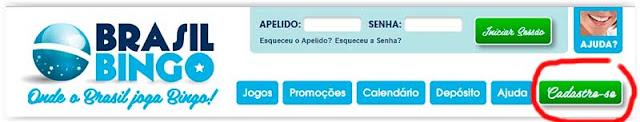 cadastro grátis Brasil Bingo