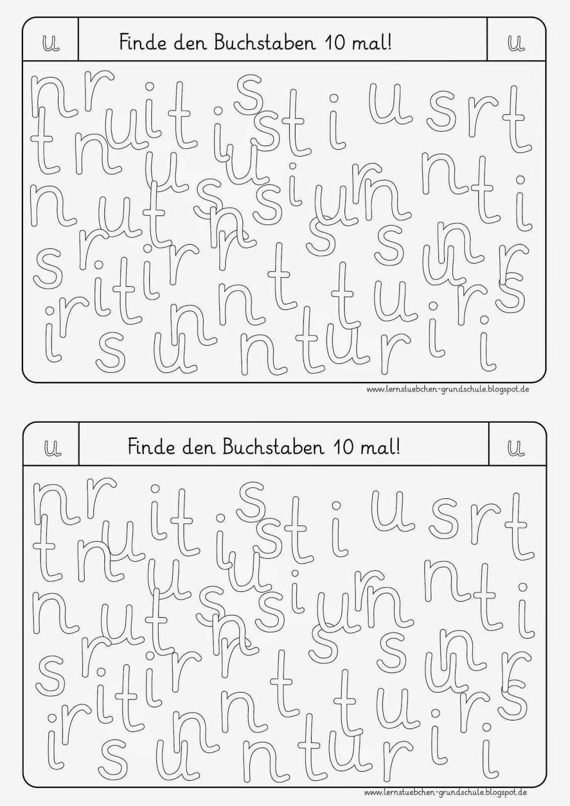 Lernstübchen: Buchstaben erkennen (U, S, R, N, I, T)