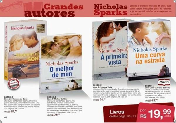 Livros Um Homem de Sorte, O melhor de mim, À primeira Vista e Uma curva na estrada, Nicholas Sparks Avon, mais baratos, com desconto