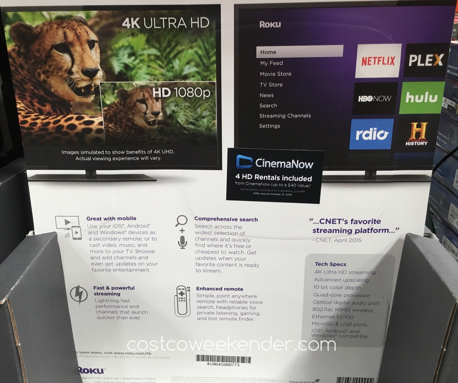 Costco 1040400 - Roku 4 Streaming Player With Enhanced Remote - Finally, a great companion device for your 4K Ultra HD TV