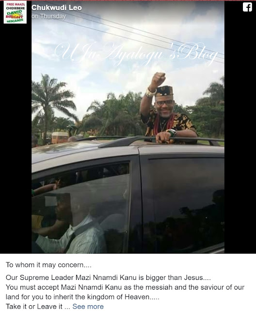 EXTRA: Internet anger as IPOB supporter claims 'Kanu is bigger than Jesus'