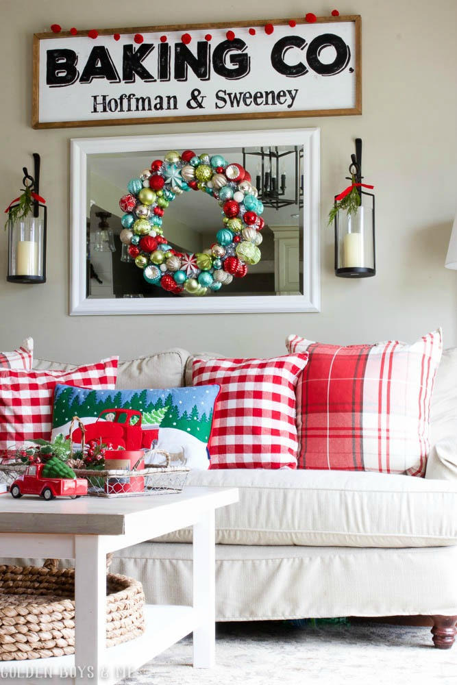 DIY farmhouse style baking sign, Pottery Barn lanterns, Birch Lane Montgomery sofa with red plaid throw pillow