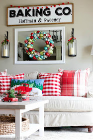 DIY farmhouse style baking sign, Pottery Barn lanterns, Birch Lane Montgomery sofa with red plaid throw pillow