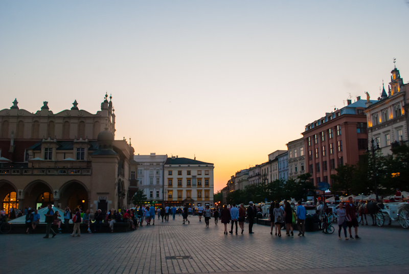 Sunset in the main square in Kraków, Poland