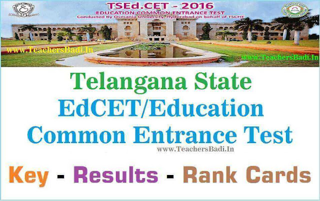 TS EdCET 2016 Results,Rank Cards,Question Papers,Keys