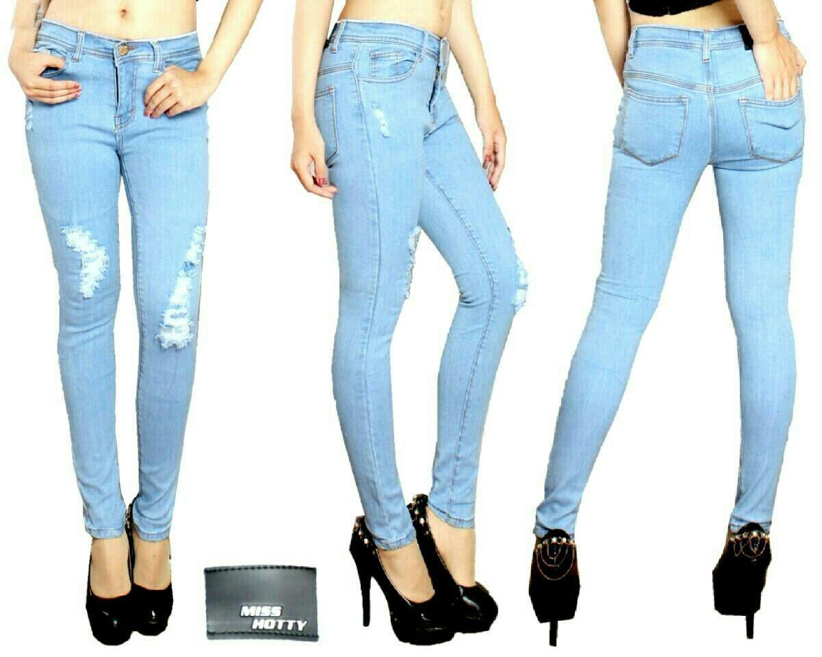 Jual Celana Panjang Celana Jeans Light Blue Miss Hotty - 12926
