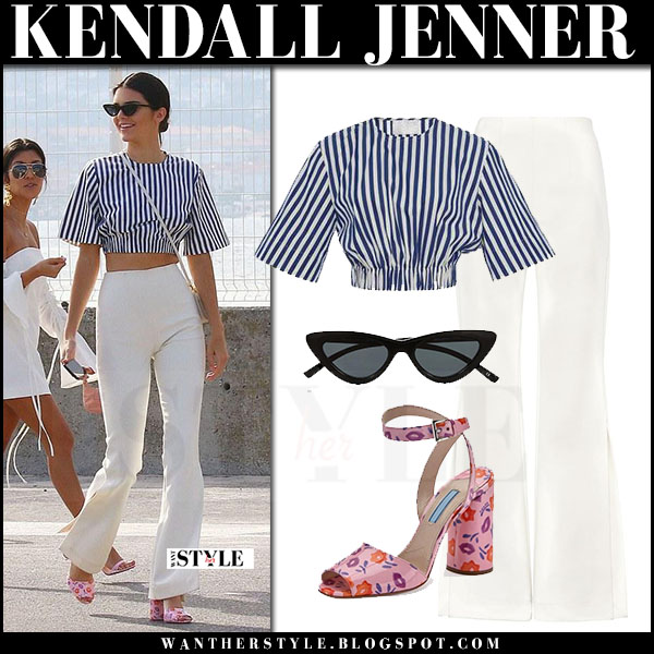 Kendall Jenner in blue striped top solace london, white pants and pink sandals prada what she wore may 23 2017 cannes