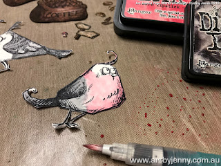 colouring Crazy Birds and Coffee Beans with Distress Inks