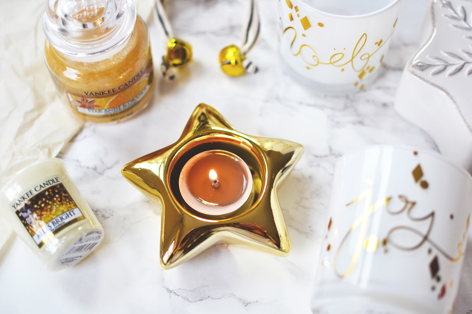 Gold star tealight holder