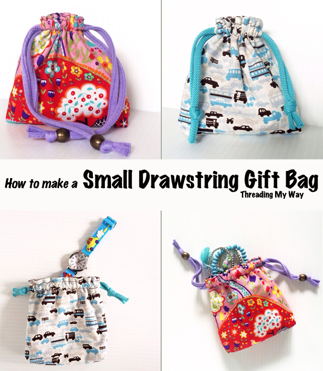 Reusable fabric gift bag tutorial ~ Threading My Way