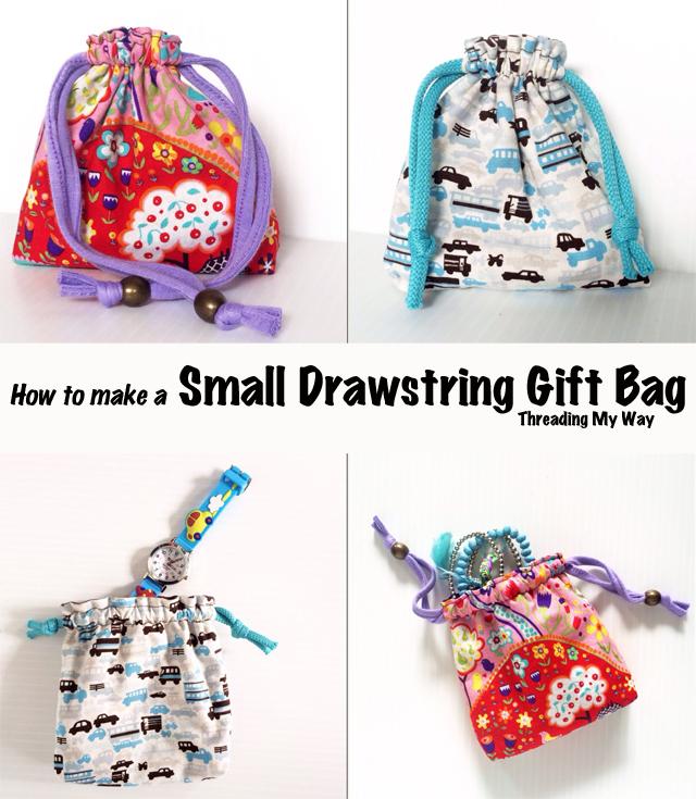Reusable fabric gift bag tutorial ~ Threading My Way