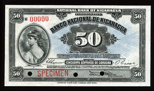 Nicaragua Fractional currency 50 Centavos banknote