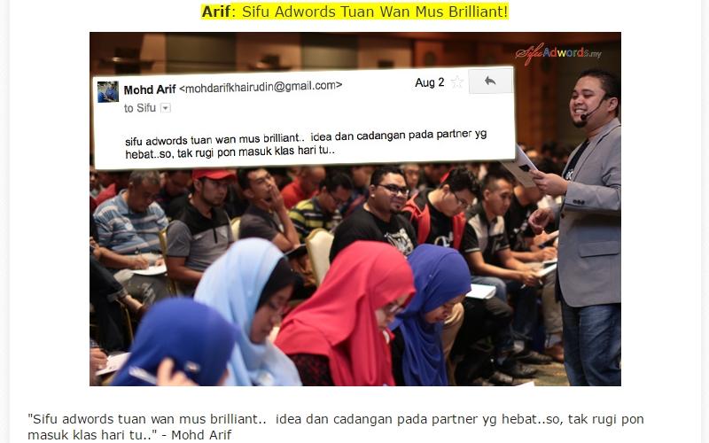 Seminar Google Adwords Malaysia Dari Sifu Adwords Tuan Mus