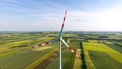 Wind Turbine. Green Summer Landscape