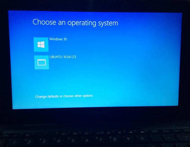 Tampilan Dual Boot Ubuntu Windows