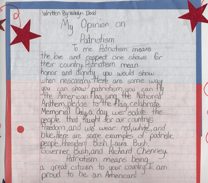 What patriotism means to you essay