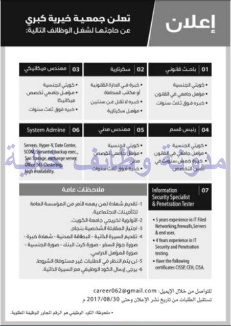 وظائف شاغرة فى جريدة الراى الكويت السبت 12-08-2017 %25D8%25A7%25D9%2584%25D8%25B1%25D8%25A7%25D9%2589%2B1