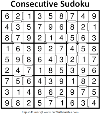 Answer of Consecutive Sudoku Puzzle (Fun With Sudoku #315)