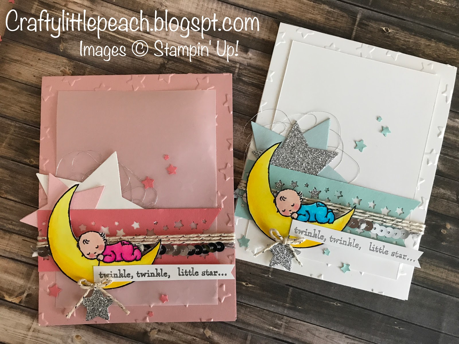 Baby Shower Karte Text.Crafty Little Peach Stampin Up Moon Baby Baby Shower Card