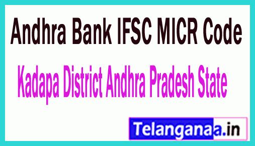 Andhra Bank IFSC MICR Code Kadapa District Andhra Pradesh State