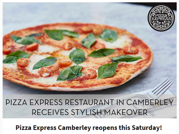 Sandhurst Hive Pizza Express In Camberley Reopening On