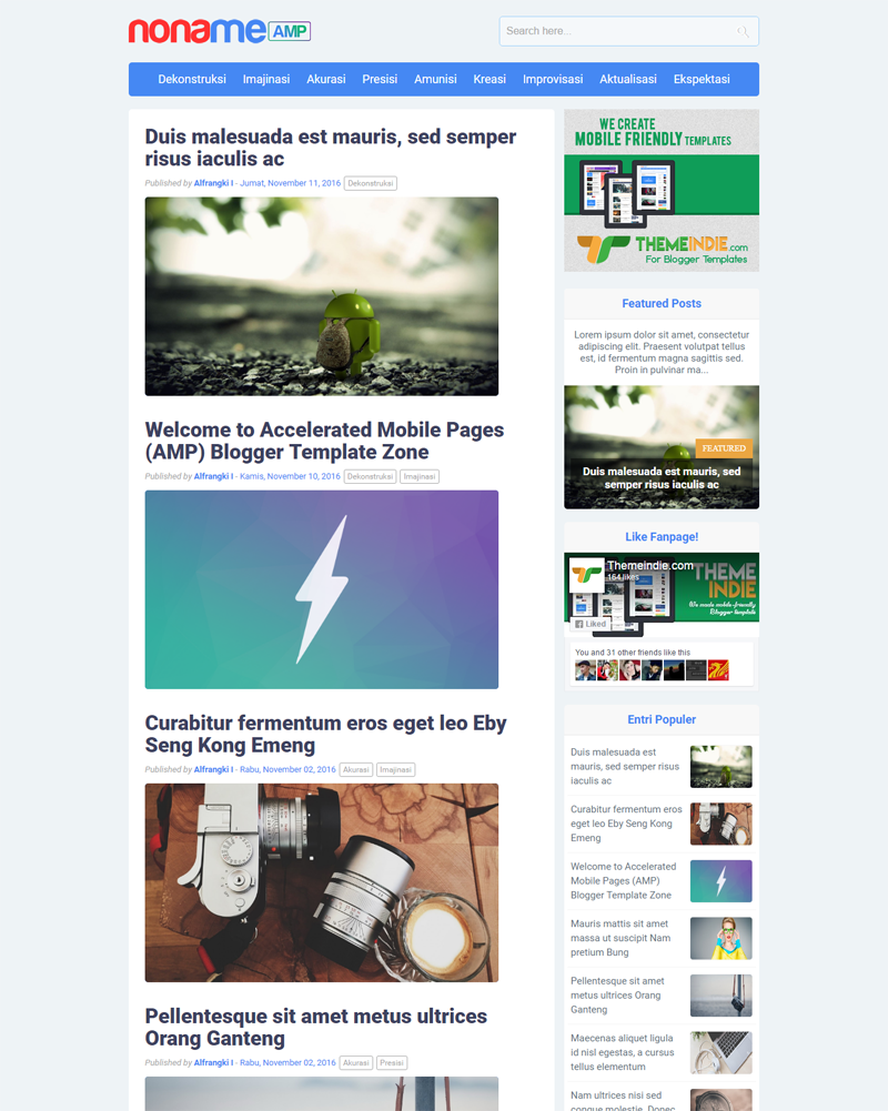 NonameAMP - Accelerated Mobile Pages Blogger Template
