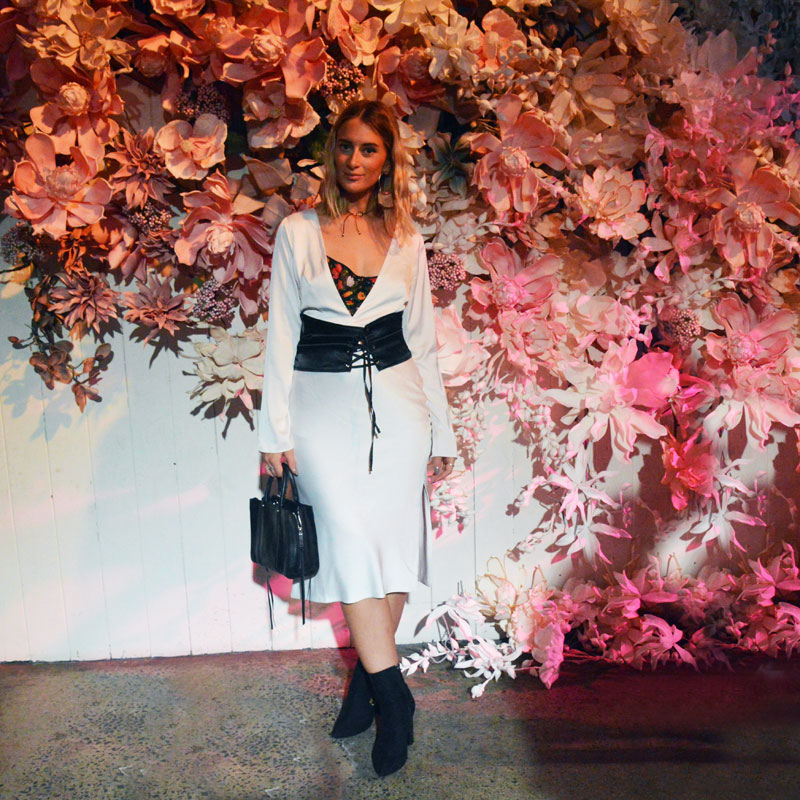 fashion week street style sydney mbfwa dyspnea white slip dress black corset belt floral embroidered black ankle boots steven khalil resort 18 show