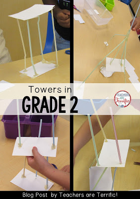 STEM in 2nd Grade: Build a tower using straws and index cards! More on this blog post!