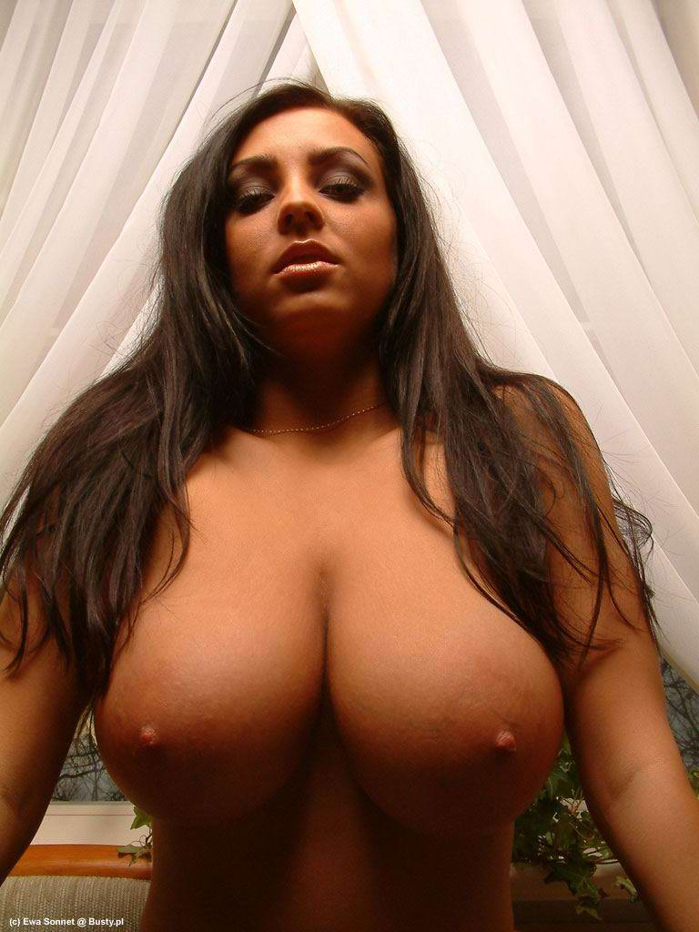 tits big round Brunette with