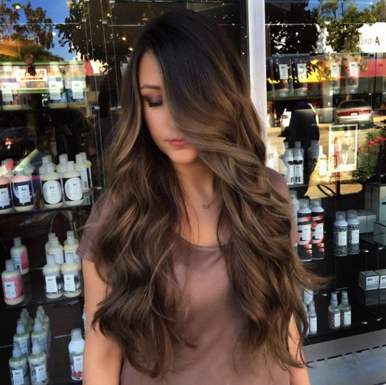 chocolate brown hair with peekaboo highlights