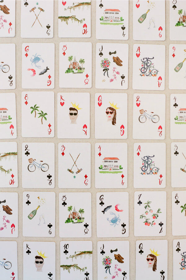watercolor wedding favor playing cards
