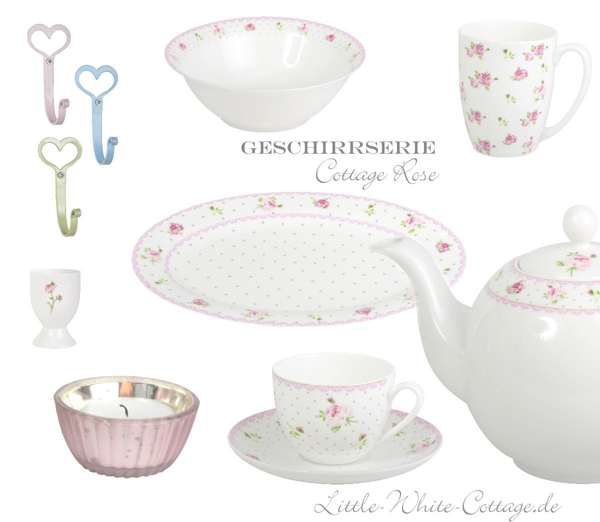 little white cottage geschirr serie cottage rose. Black Bedroom Furniture Sets. Home Design Ideas